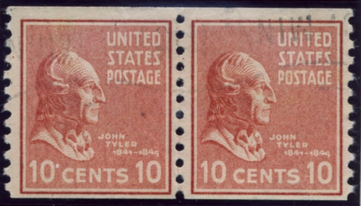 Scott 847 10 Cent Stamp John Tyler coil stamp Perforated vertically pair