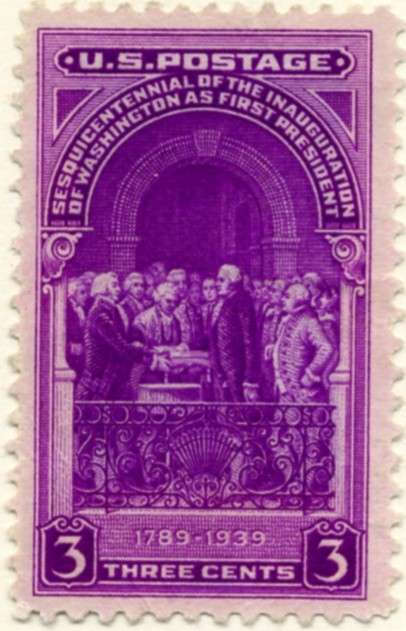 Scott 854 3 Cent Stamp Washington's Inauguration Sesquicentennial a