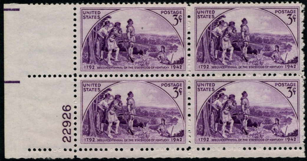 Scott 904 3 Cent Stamp Kentucky Sesquicentennial Plate Block