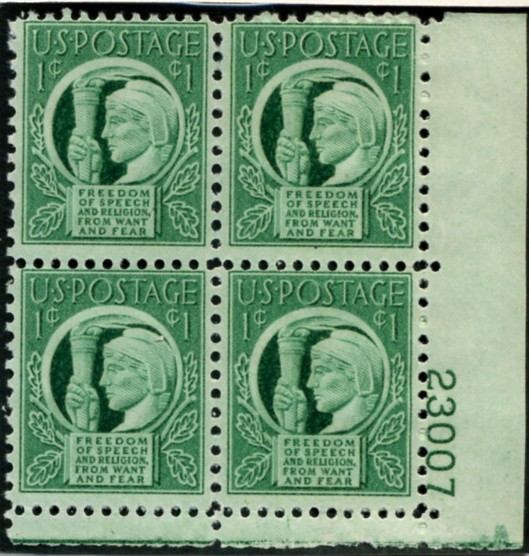 Scott 908 1 Cent Stamp Four Freedoms Plate Block