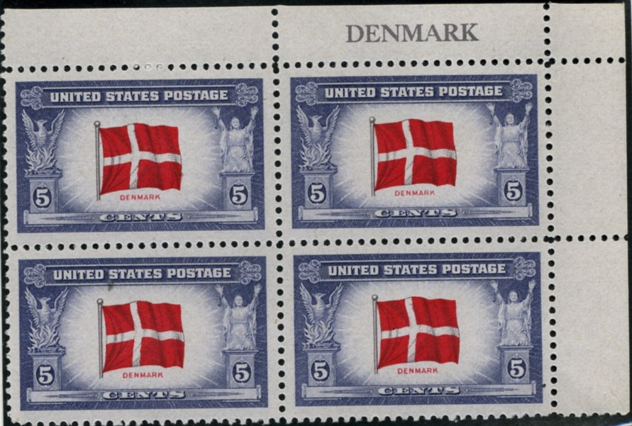Scott 920 5 Cent Stamp Overrun Countries Issue Denmark Plate Block