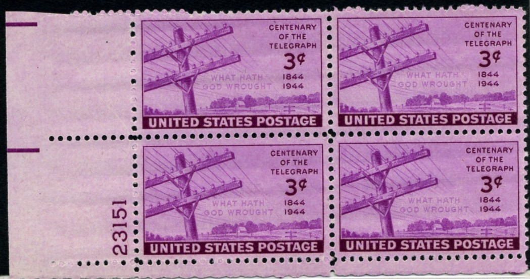 Scott 924 3 Cent Stamp Telegraph Centenary Plate Block