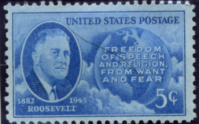 Scott 933 5 Cent Stamp Roosevelt - Four Freedoms