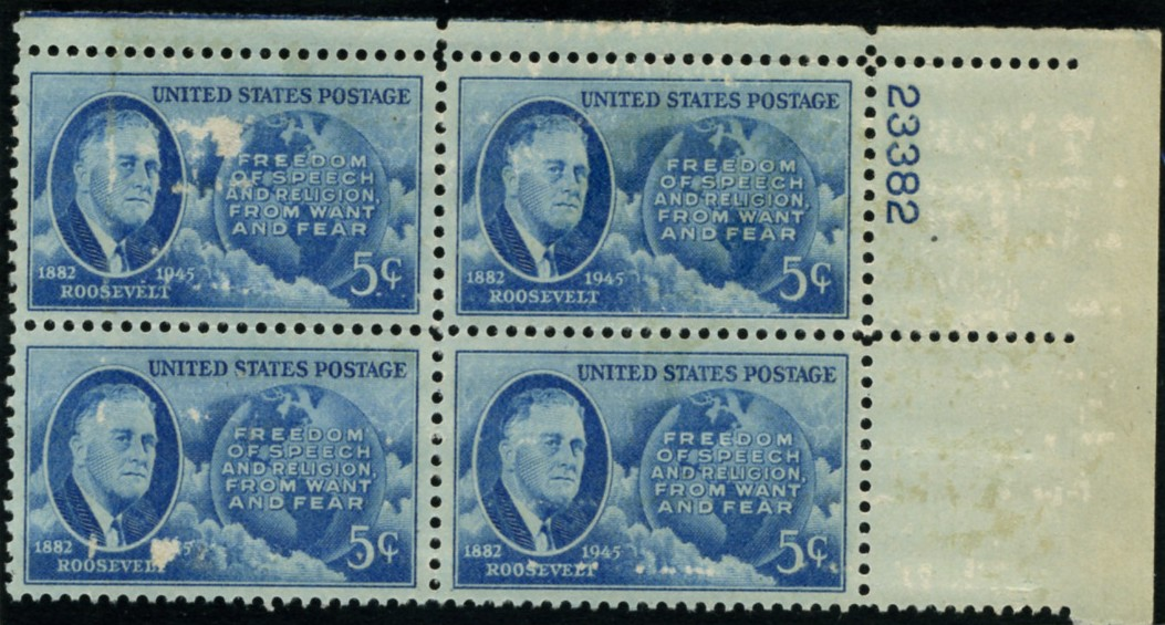 Scott 933 5 Cent Stamp Roosevelt - Four Freedoms Plate Block