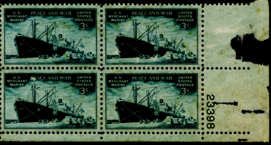 Scott 939 3 Cent Stamp Merchant Marine Plate Block