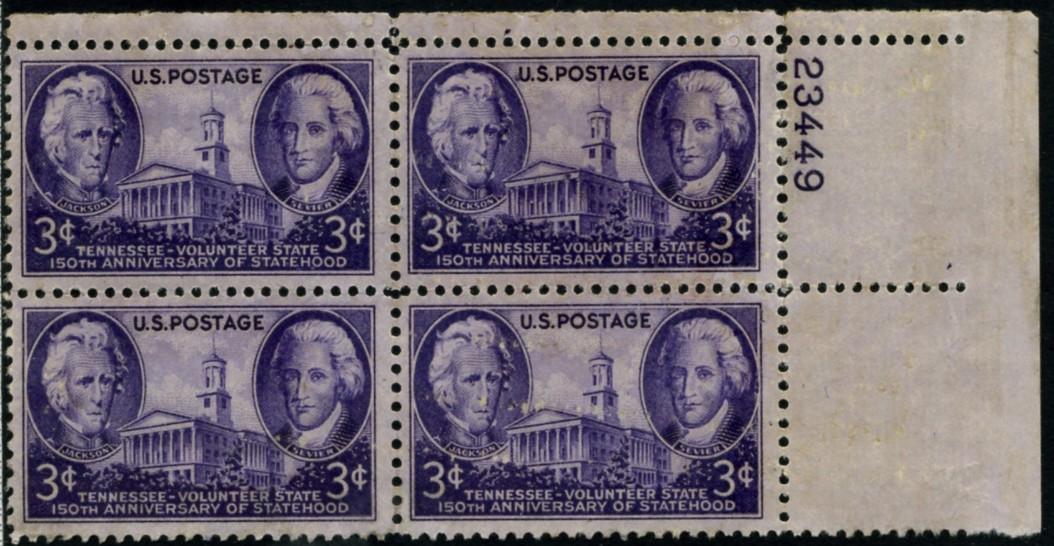 Scott 941 3 Cent Stamp Tennessee Statehood Plate Block