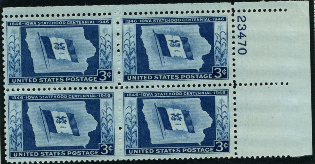 Scott 942 3 Cent Stamp Iowa Statehood Centennial Plate Block