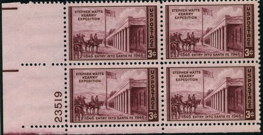Scott 944 3 Cent Stamp Stephen Watts Kearney Expedition to Santa Fe Plate Block