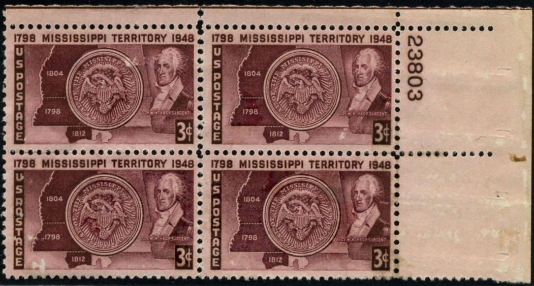 Scott 955 3 Cent Stamp Mississippi Territory Plate Block