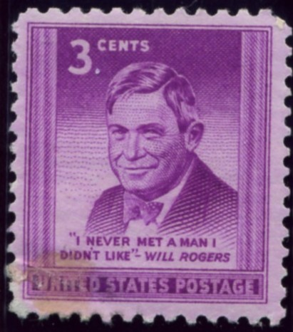 Scott 975 3 Cent Stamp Will Rogers