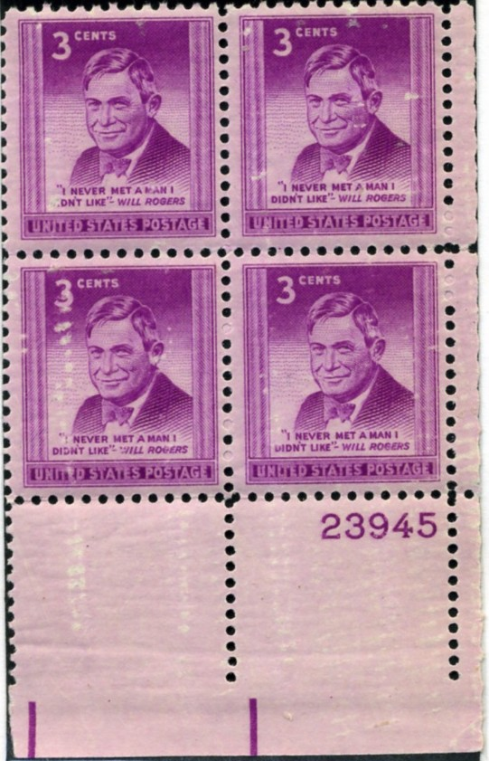 Scott 975 3 Cent Stamp Will Rogers Plate Block