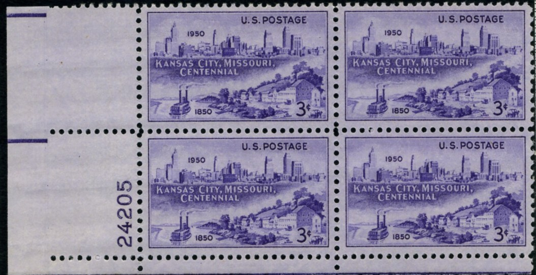 Scott 994 3 Cent Stamp Kansas City Centennial Plate Block