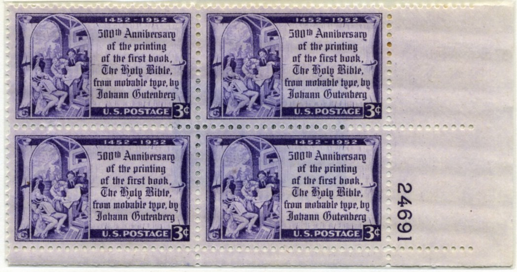 Scott 1014 3 Cent Stamp Johann Gutenberg and Printing Plate Block