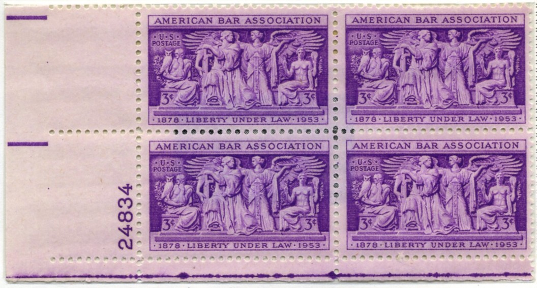 1022 3 Cent Stamp American Bar Association Plate Block