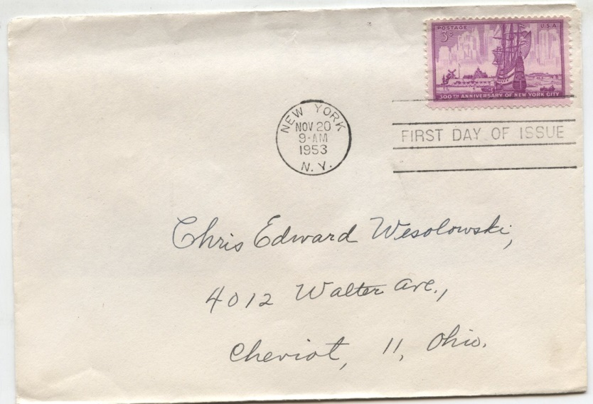 Scott 1027 3 Cent Stamp New York City First Day Cover