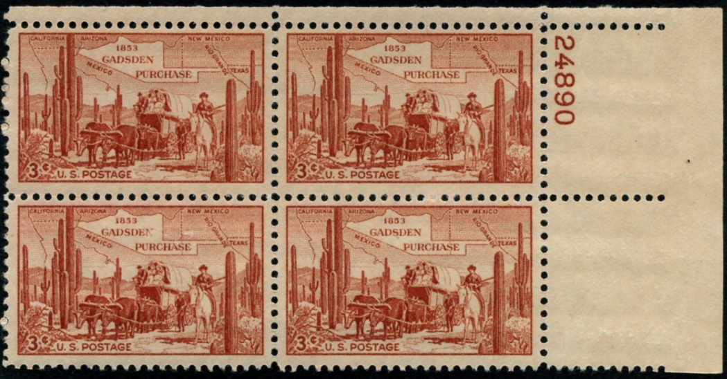 Scott 1028 3 Cent Stamp Gadsden Purchase Plate Block