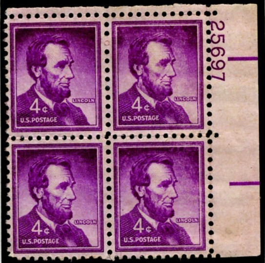 Scott 1036 4 Cent Stamp Abraham Lincoln Plate Block