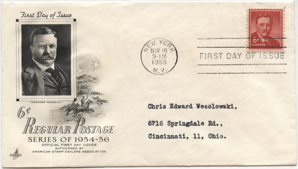 Scott 1039 6 Cent Stamp Theodore Roosevelt First Day Cover