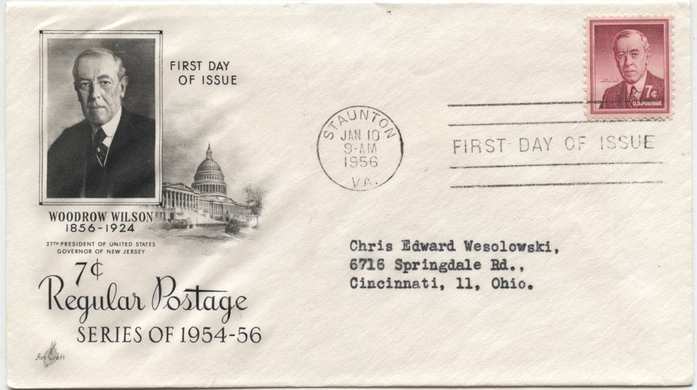 Scott 1040 7 Cent Stamp Woodrow Wilson First Day Cover