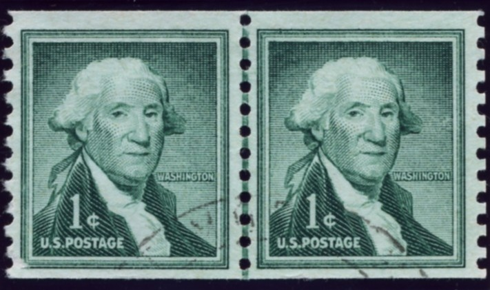 Scott 1054 1 Cent Stamp George Washington coil stamp pair