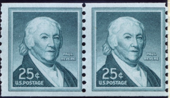 Scott 1059a 25 Cent Stamp Paul Revere coil stamp pair