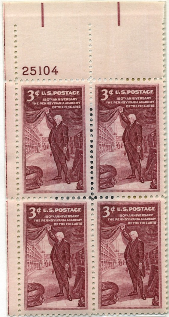 Scott 1064 3 Cent Stamp Pennsylvania Academy of the Fine Arts Plate Block