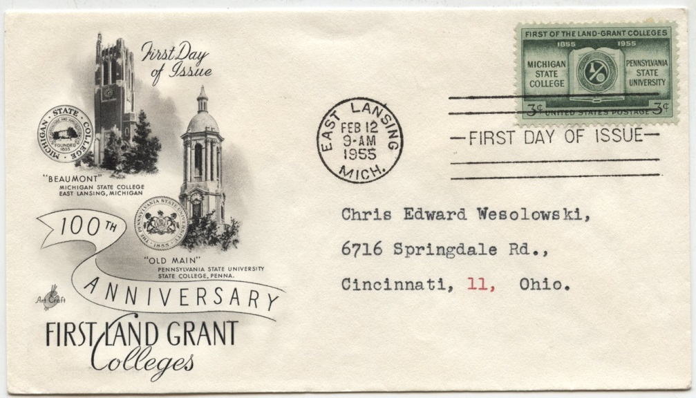 Scott 1065 3 Cent Stamp Land Grant Colleges Michigan State Pennsylvania State First Day Cover