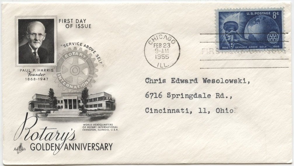 Scott 1066 8 Cent Stamp Rotary International Service Above Self First Day Cover