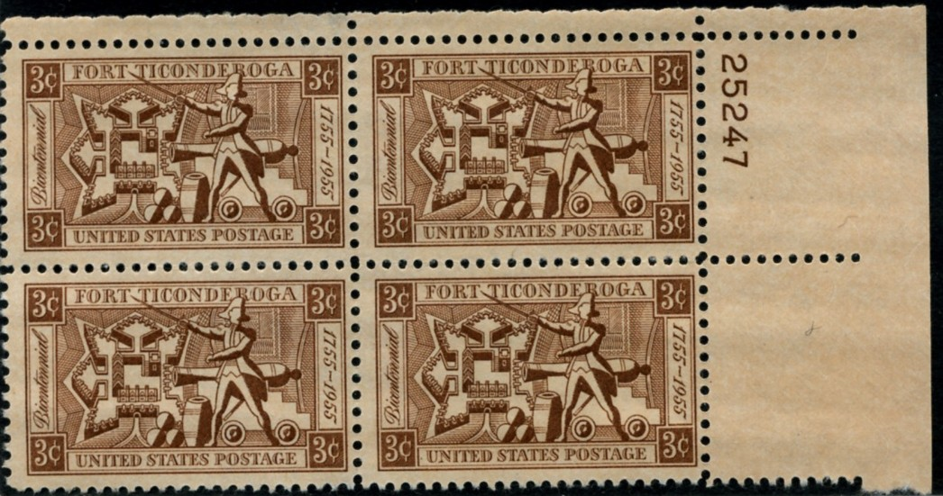 Scott 1071 3 Cent Stamp Fort Ticonderoga Plate Block
