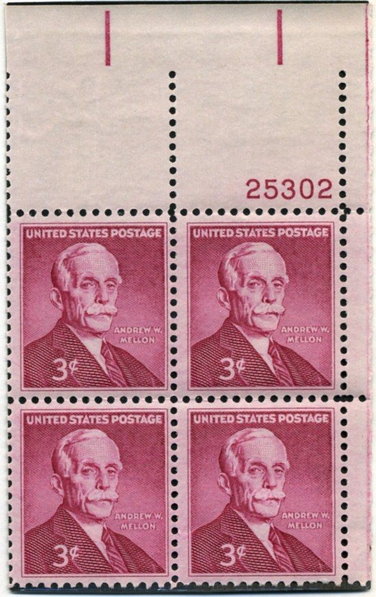 Scott 1072 3 Cent Stamp Andrew Mellon Plate Block