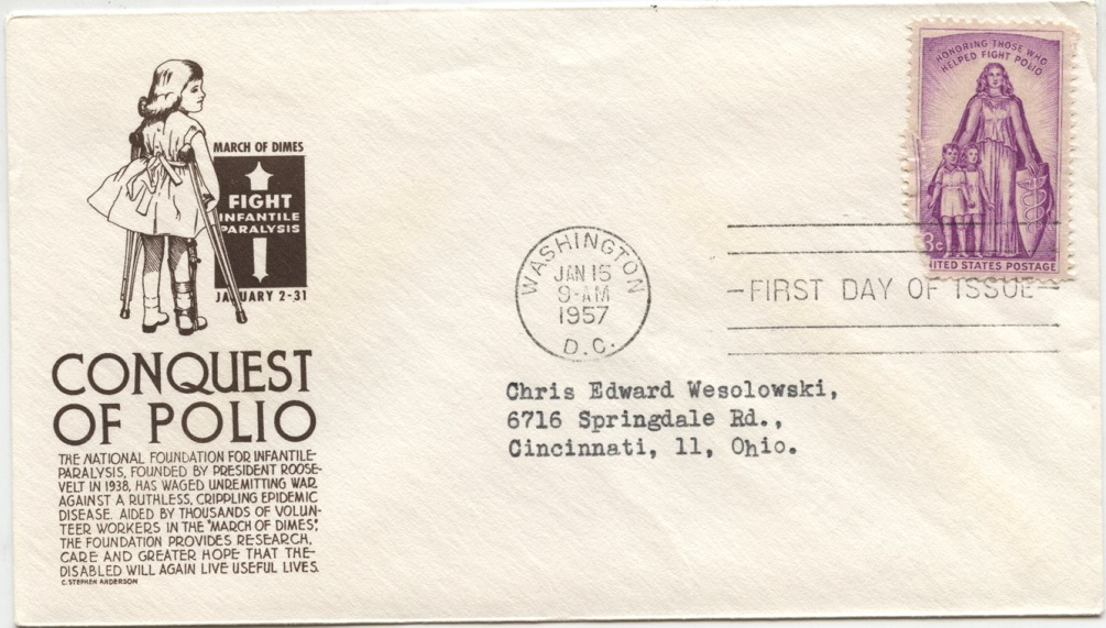 Scott 1087 3 Cent Stamp Fight Against Polio First Day Cover