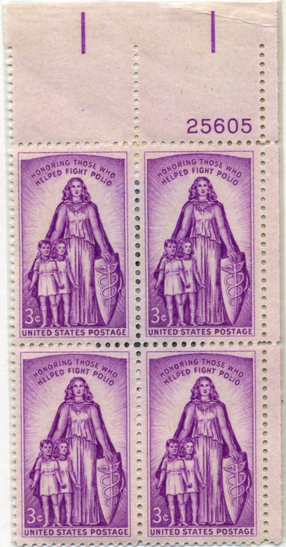 Scott 1087 3 Cent Stamp Fight Against Polio Plate Block