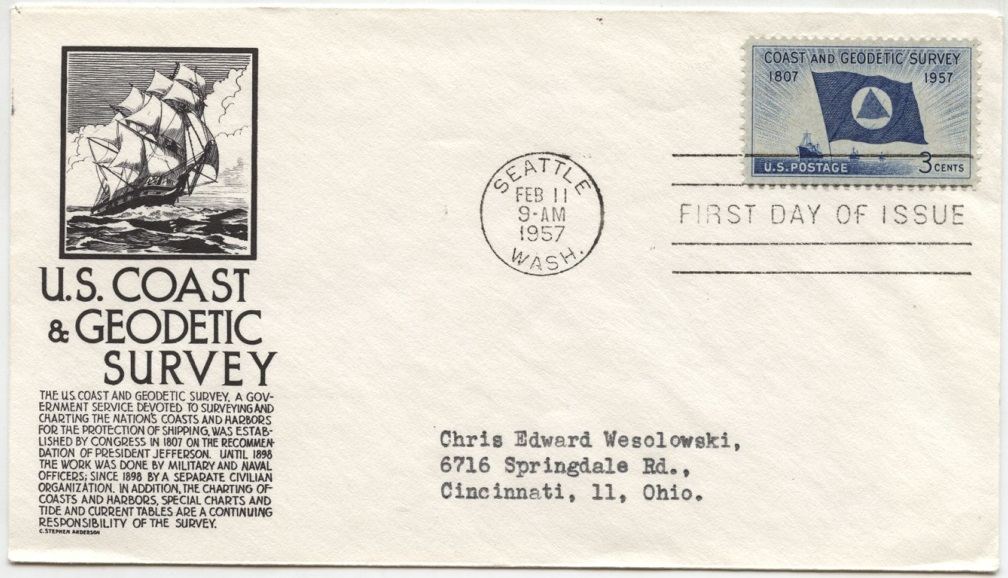 Scott 1088 3 Cent Stamp Coast and Geodetic Survey First Day Cover