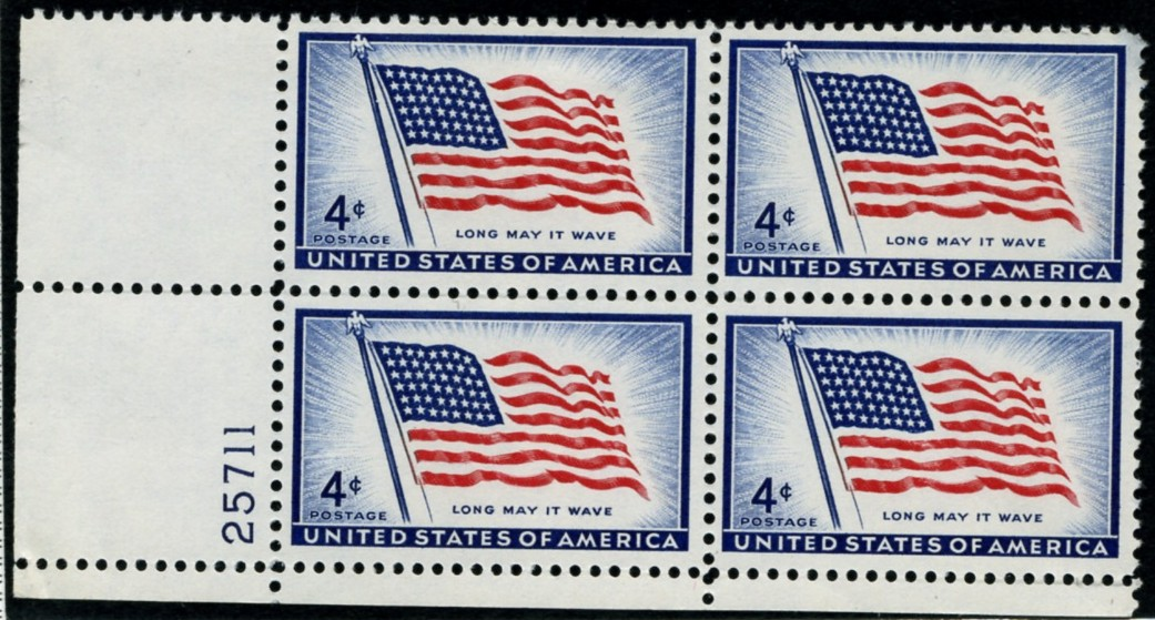Scott 1094 4 Cent Stamp 48 Star Flag Long May It Wave Plate Block
