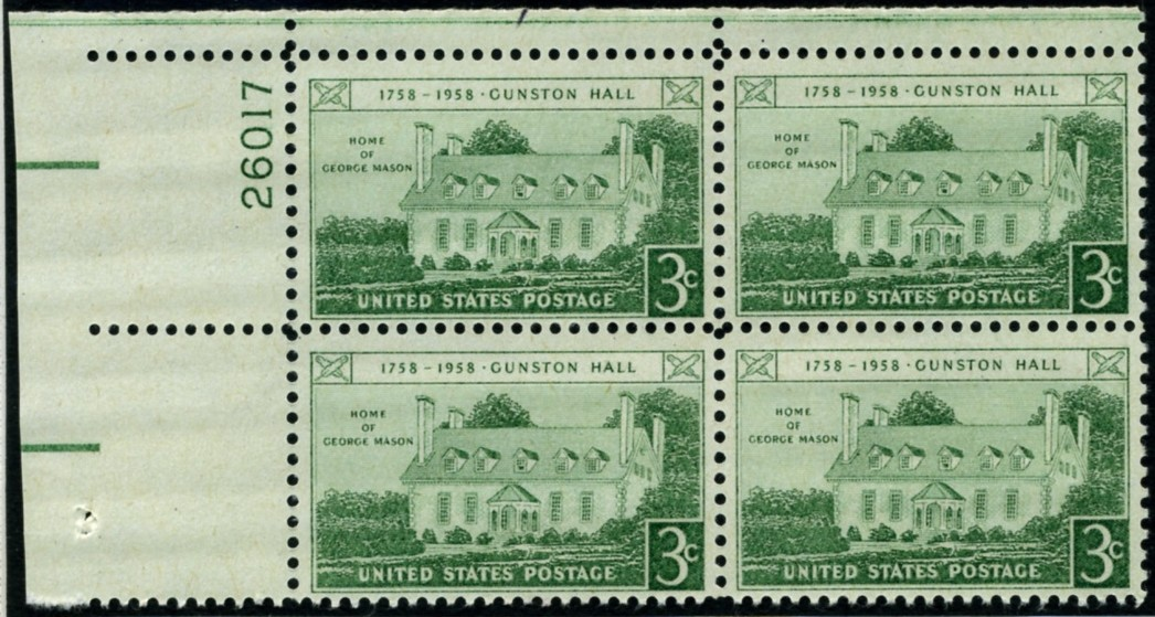 Scott 1108 3 Cent Stamp Gunston Hall Home of George Mason Plate Block