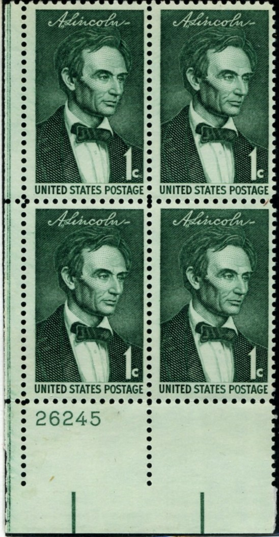 Scott 1113 1 Cent Stamp Youthful Lincoln Plate Block
