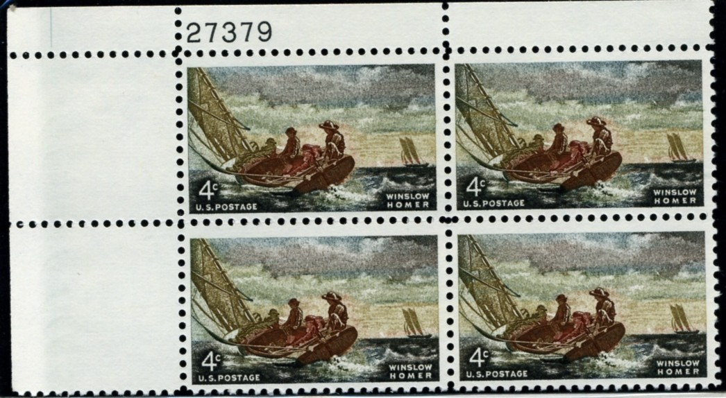 Scott 1207 4 Cent Stamp Winslow Homer Plate Block