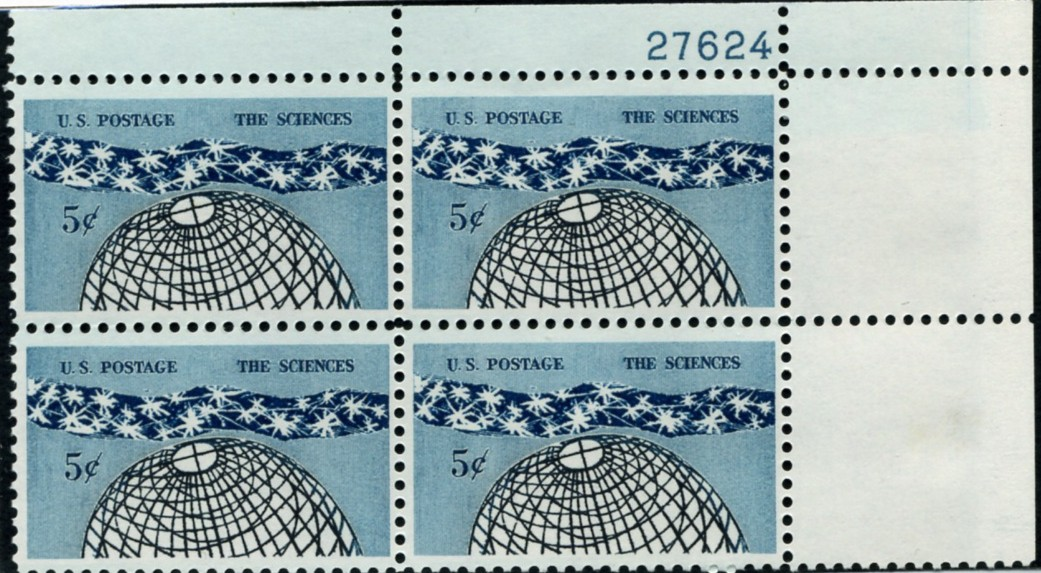 Scott 1237 5 Cent Stamp The Sciences Plate Block