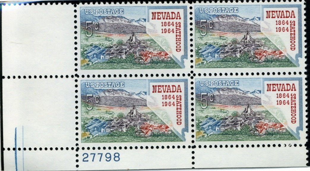 Scott 1248 5 Cent Stamp Nevada Statehood Centennial Plate Block