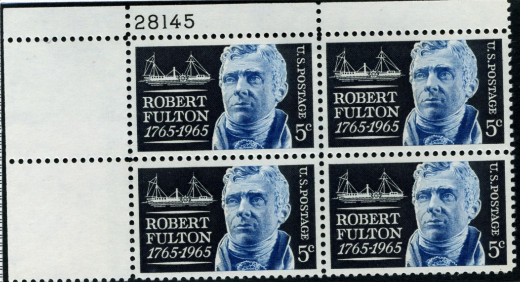 Scott 1270 5 Cent Stamp Robert Fulton Plate Block