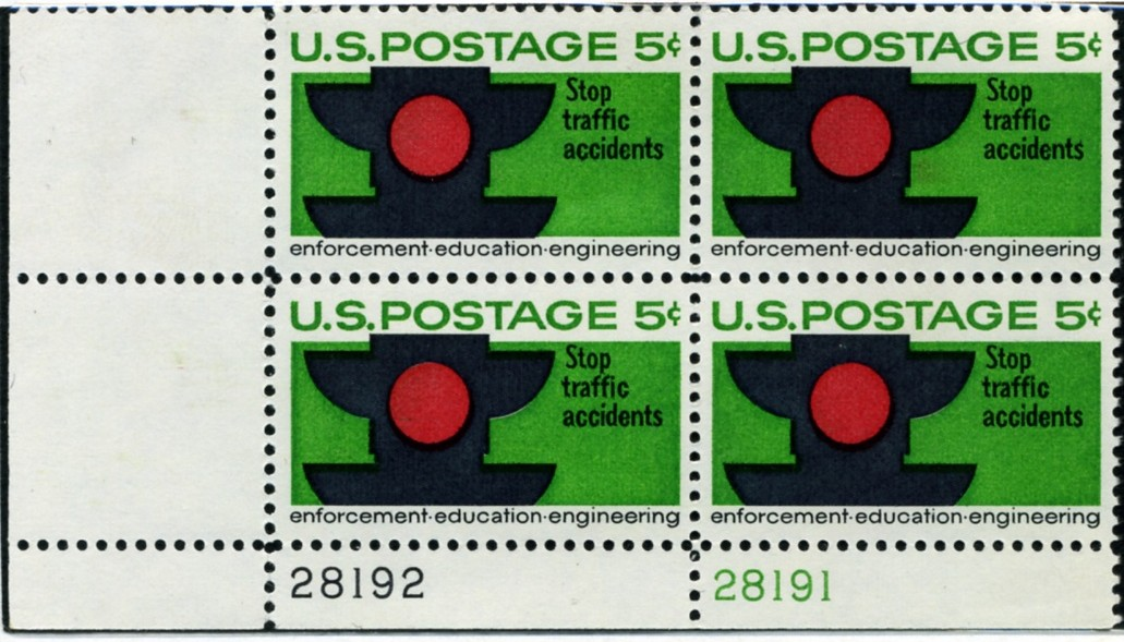 Scott 1272 5 Cent Stamp Traffic Safety Stop Accidents Plate Block