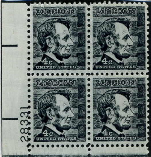 Scott 1282 4 Cent Stamp Abraham Lincoln Plate Block
