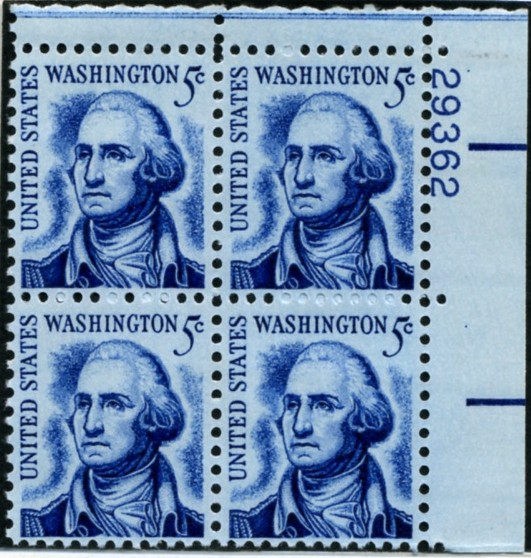 Scott 1283B 5 Cent Stamp George Washington clean shaven Plate Block