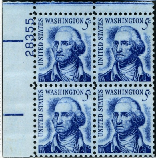 Scott 1283 5 Cent Stamp George Washington Plate Block