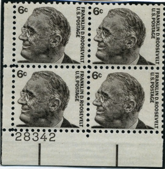 Scott 1284 6 Cent Stamp Franklin D Roosevelt Plate Block