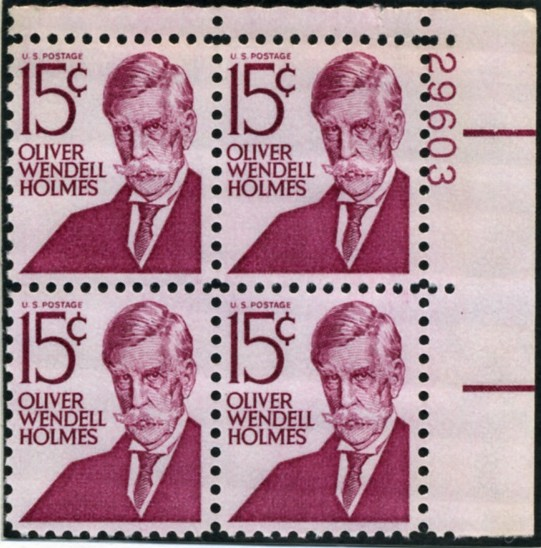 Scott 1288 15 Cent Stamp Oliver Wendell Holmes type 1 Plate Block