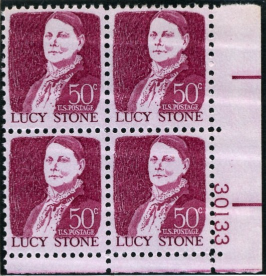 Scott 1293 50 Cent Stamp Lucy Stone Plate Block