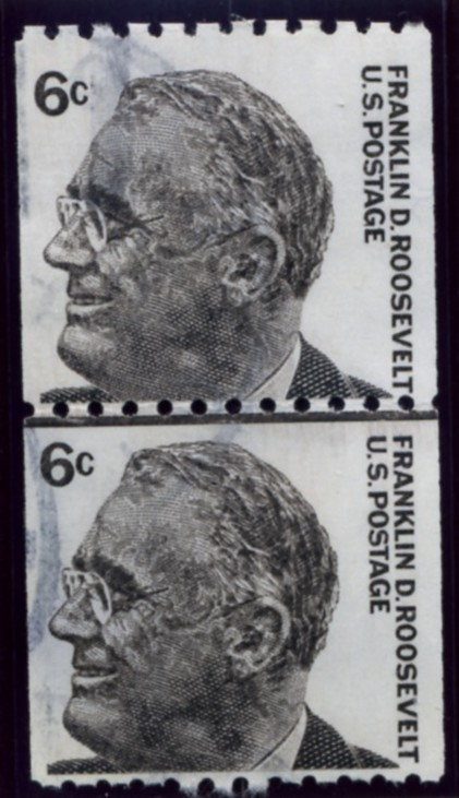 Scott 1298 6 Cent Stamp Franklin D Roosevelt perforated 10 horizontally pair
