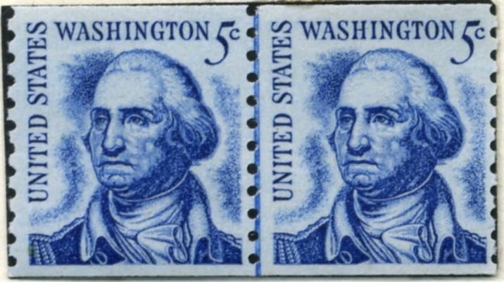 Scott 1304 5 Cent Stamp George Washington perforated 10 vertically pair