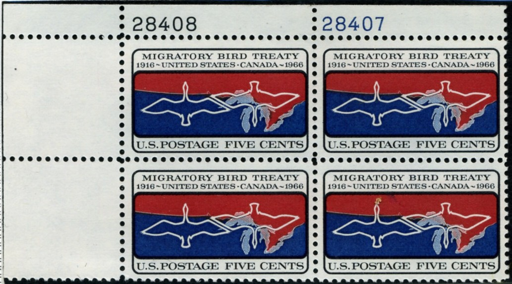 Scott 1306 5 Cent Stamp Migratory Bird Treaty Plate Block